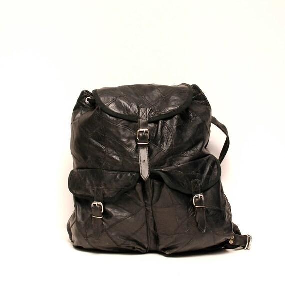 LEATHER BACKPACK black multi pocket LARGE