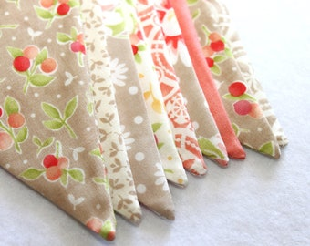 Large Fabric Bunting - Coral Banner - Taupe Bunting