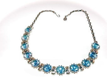 Vintage Coro necklace 50s Adjustable Choker with Large Sparkling Blue Stones - on sale