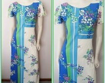 Vtg.70s White Green Purple Bluebell Floral Flower Print Flutter Sleeve Scoop Back Maxi Dress.S.Bust 34-36.Waist 30.Hips 40