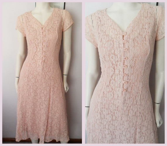 Vtg.80 does 40s Style Dusty Rose Pink Sheer Lace Maxi Dress with Slip.S/M.Bust 34-38.Waist 28-32.