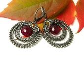 Luxury silver wire wrapped earrings, purple, chalcedony