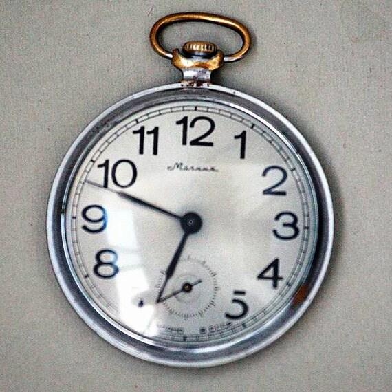 "Soviet Pocket Watch ""MOLNIJA"" - Working - Mechanical Pocket Watch - Relief Pattern - 1970s - from Russia / Soviet Union / USSR"