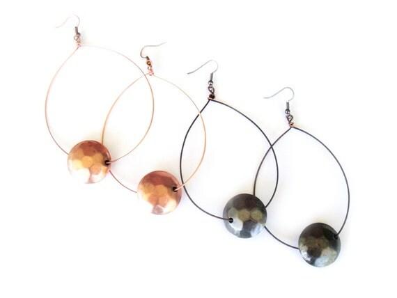 Copper or Gunmetal Hammered Hoop Earrings