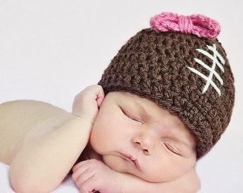 Girls Football Beanie Hat with Pink Bow / Newborn Girl Football Hat