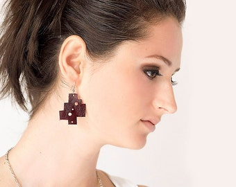 Dark red Geometric Leather Earrings, burgundy earrings, statement earrings, boho tribal earrings, gift for her
