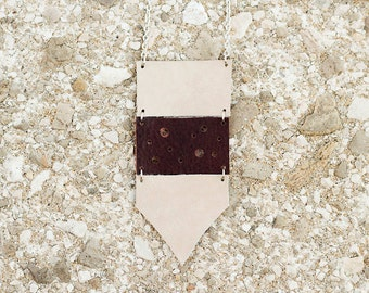 Cream and brown  leather geometric necklace, Ethnic necklace, arrow necklace, boho tribal necklace, gift for her