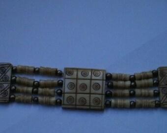 Vintage Art Deco Bone Multistrand 13-inch Necklace