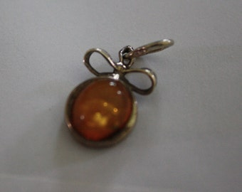 Vintage Natural Baltic Amber Sterling Silver Pendant FREE SHIPPING