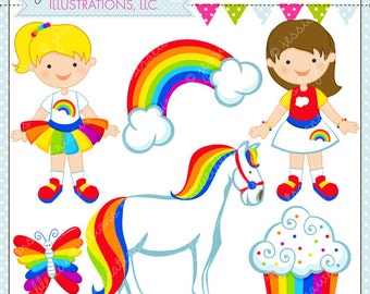 Rainbow Pretty Cute Digital Clipart for Commercial or Personal Use, Rainbow Girl Clipart, Rainbow Graphics
