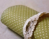 Gorgeous Linen Polka Dot Reform Fabric Sticker - Green (A4)