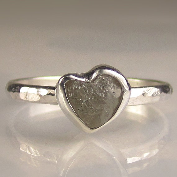 Heart Shaped Rough Diamond Ring - Palladium Sterling