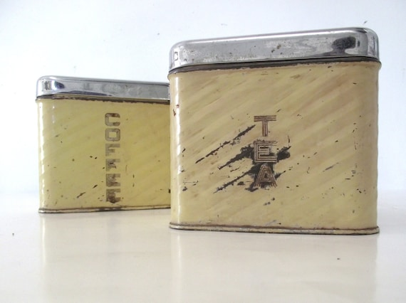 Sale 50% Off Lincoln BeautyWare Vintage Butter Yellow Tea Canister