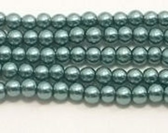 3mm Teal Green Glass Pearls - 1 strand