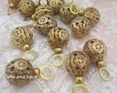 Fabulous Antique Filigree Brass Czech Buttons Great for Pendants Charms Jewelry Making