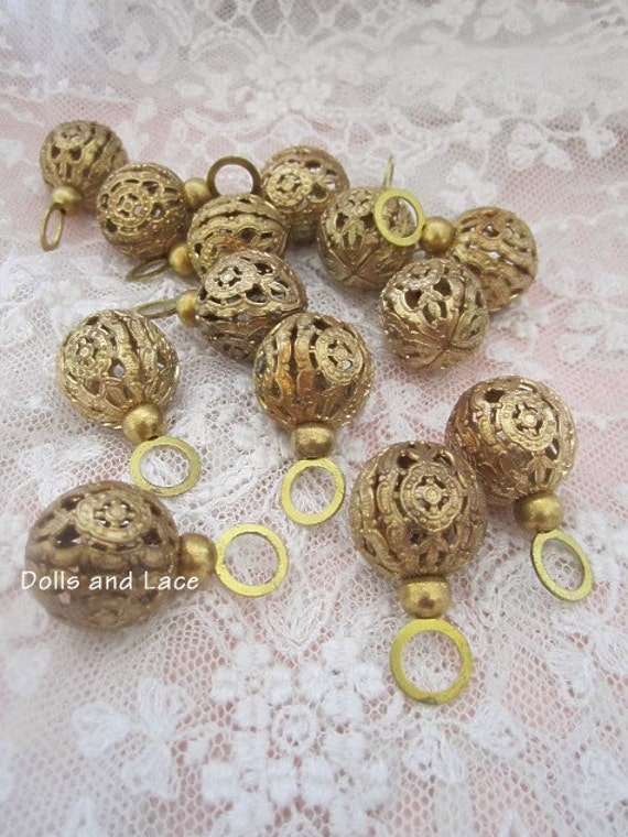 Fabulous Antique Filigree Brass Czech Button Great for Pendants Charms Jewelry Making