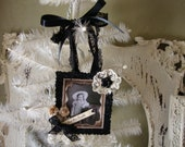 Victorian Halloween ornament mixed media Victorian old photo Cottage Chic glittered halloween mini sign little girl costume Toil trouble