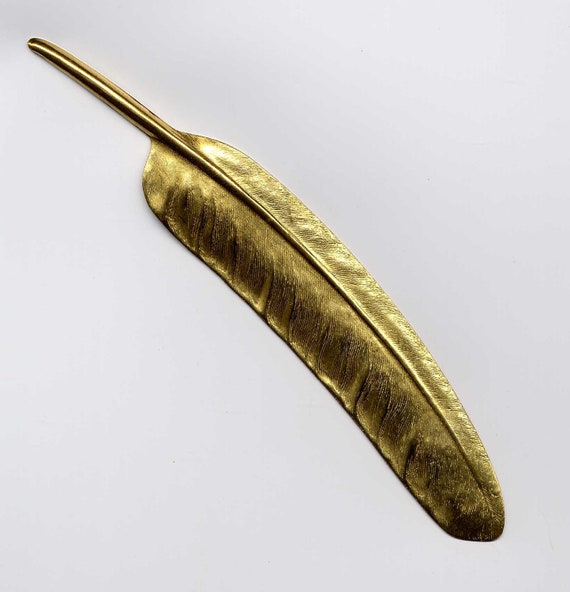 Very Large Feather Brass Metal Stamping