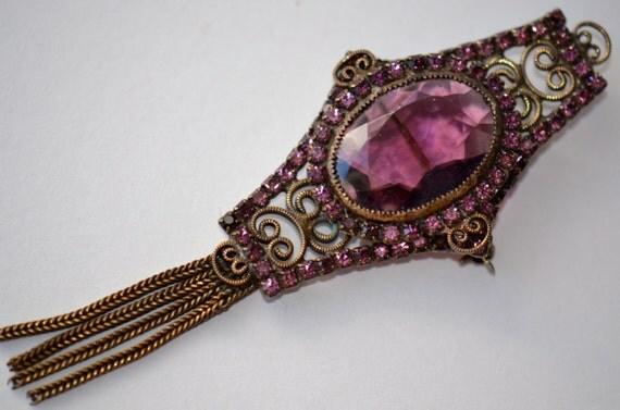 Antique Victorian Brooch. Amethyst Purple