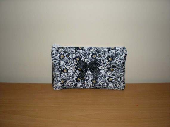 Makeup/cosmetic/pencil case pouch black white gold print with contrasting lining and bow READY TO SHIP