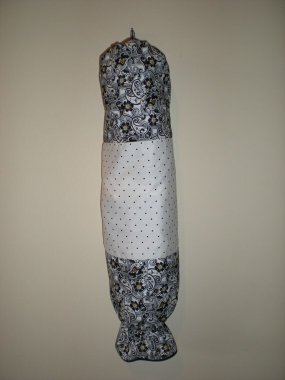 Plastic bag/Storage bag holder 100% cotton in demask like print and polka dots eco friendly Will brighten up your pantry