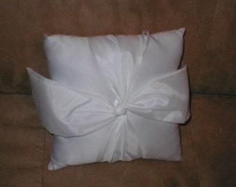 White Satin Bow Ring Bearer Pillow