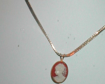 Vintage CAMEO pendant and 14k Chain Necklace