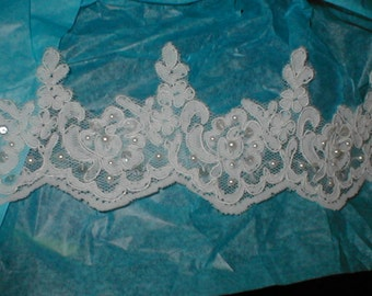 Beaded Alencon Lace Border Trim white or ivory