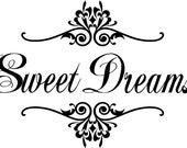 Sweet Dreams w Damask Scrolls Vinyl Wall Decal