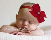 Red Infant- Toddler Hairbow Headband Classic Red Pinwheel Hair bow Headband