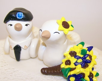 Army Wedding Cake Topper Love Birds with Sunflower Accessories - Custom Large - Choice of Colors