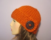 Orange or Pick Your Color Hand Knit Hat with Wood Button - Winter Hat