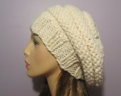 Cream White Slouch Beehive Hat, Hand Knit Winter White Knit Hat