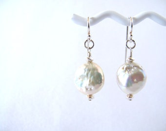 Ivory Coin Pearl Earrings