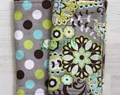 Burp Cloths  Gender Neutral Light Blue Floral Vine and Dots Set On Brown Minky Dot