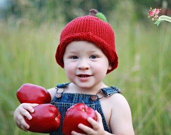 Apple Hat Hand Knit Baby Hat, Knitted Infant Photo Prop, Red Delicious Apple Cap, Newborn Infant, Toddler Knitted Beanie, Worm