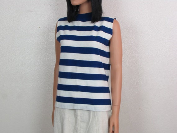 Blue and White Stripped Cotton Knit Sleeveless Pullover Nautical Tank Top