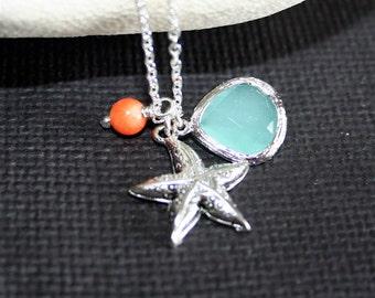 Beach Necklace, Silver Seastar Coral Aquamarine Necklace, Sterling Silver, Summer Necklace. Beach Wedding Jewelry, Everyday Jewelry