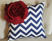 Ruby Corner Rose on Navy Blue and White Zigzag Pillow 14 X 14 -Chevron Flower Pillow- Zig Zag Pillows