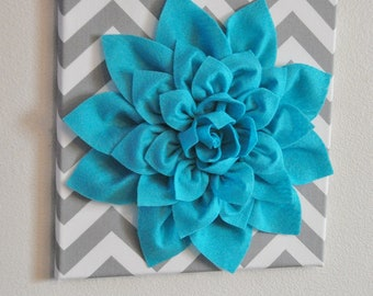 "Wall Flower -Light Turquoise Dahlia on Gray and White Chevron 12 x12"" Canvas Wall Art- Baby Nursery Wall Decor-"