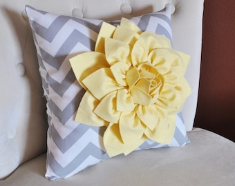 Decorative Pillow- Light Yellow Dahlia on Gray and White Zigzag Pillow -Chevron Pillow- 18 x 18