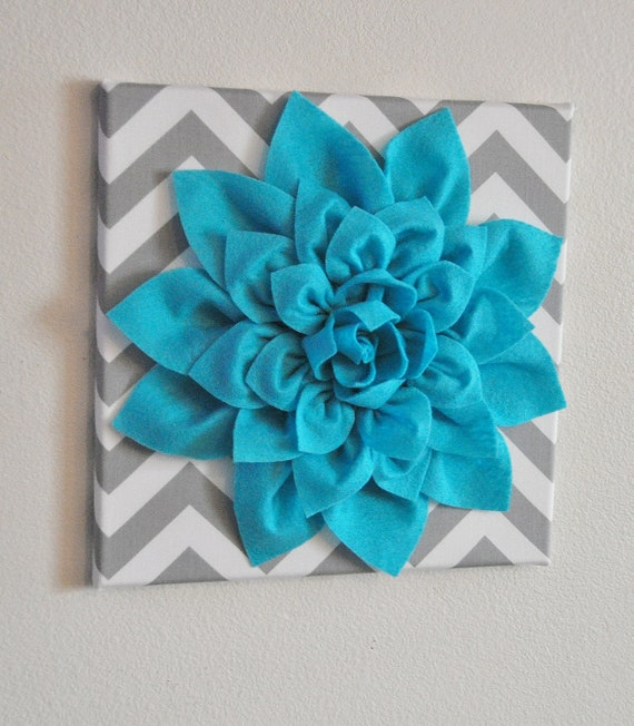 Wall Flower Light Turquoise Dahlia on Gray and White Chevron