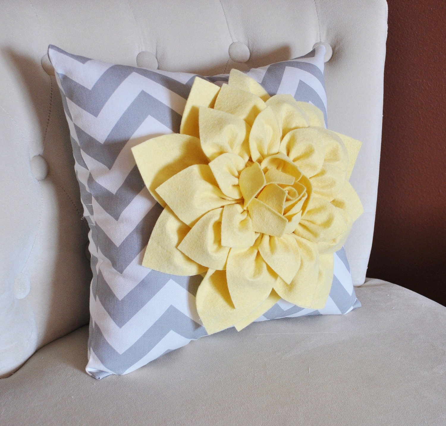 Decorative Pillow Light Yellow Dahlia on Gray and White