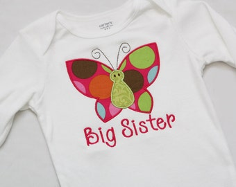 Big Sister Shirt, Little Sister Shirt - Personalized Butterfly