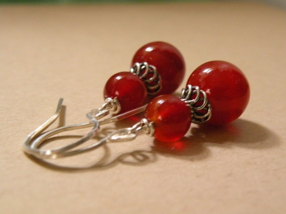 Ember   -   Red Agate Stone Earrings   -  Handcrafted Sterling Silver Earrings