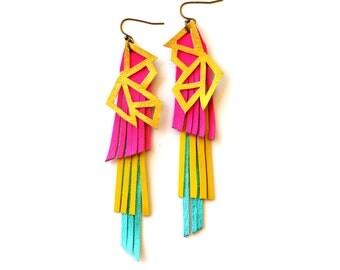 Neon Fringe Earrings, Metallic Gold Geometric Earrings, Neon Pink Earrings, Triangle Leather Earrings, Leather Jewelry, Statement Earrings