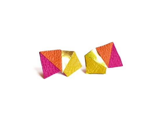 Post Stud Earrings, Pink Orange Yellow and Gold Earrings, Triangle Earrings, Modern Geometric Jewelry