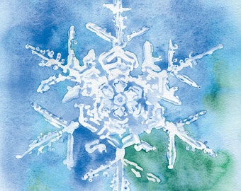 Snowflake Watercolor Painting Christmas Cards Set of 10