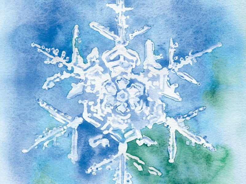Snowflake watercolor painting christmas cards set of 10 Christmas card scenes to paint