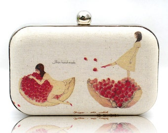 Pomegranate Dancing Girl Box Clutch Hand Dyed Red Ruby Beige Ivory Linen Bride Bridesmaid Wedding Mori Girl Bag Jewish New Year Minaudiere